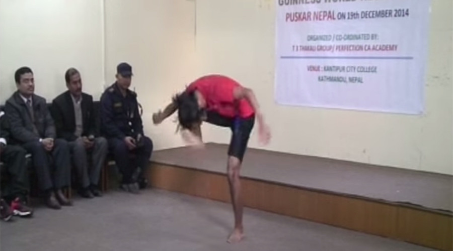 Nepalese teen makes Guinness World Records by kicking his own head 134 times in a minute (VIDEO)