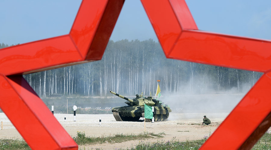 The Indian team takes part in the Tank Biathlon World Championships semifinal at Alabino base outside Moscow. © Maksim Blinov