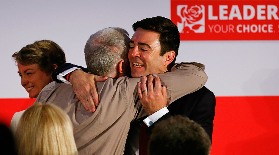 Labour Party leadership candidates Jeremy Corbyn (C) and Andy Burnham (R)  © Darren Staples