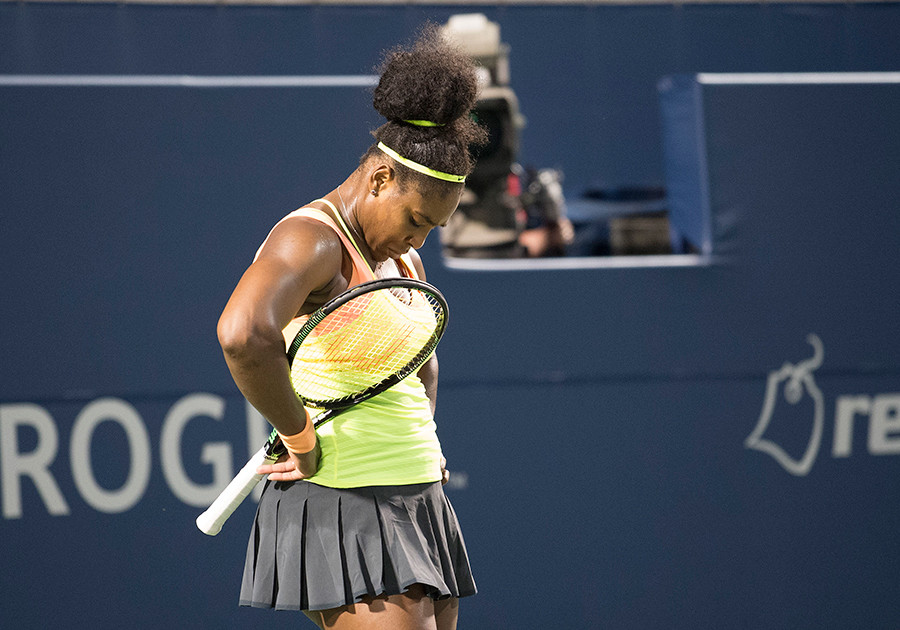 Serena Williams of the USA reacts in her semi final match against Belinda Bencic of Switzerland © Nick Turchiaro