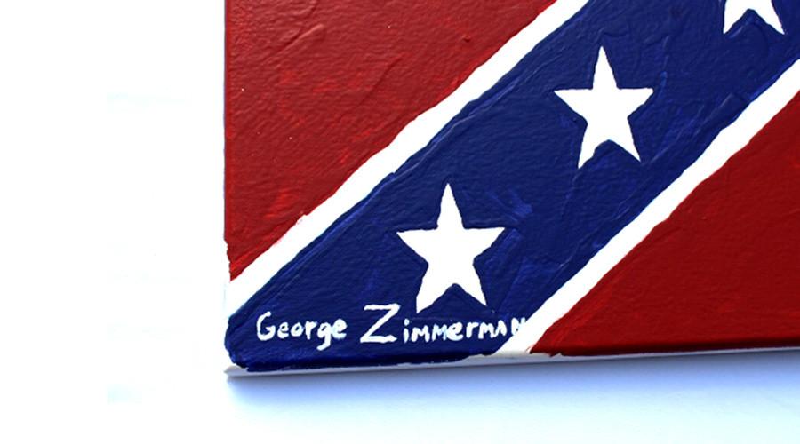 Trayvon Martin's killer Zimmerman paints Confederate flag to praise Muslim-banning gun shop owner
