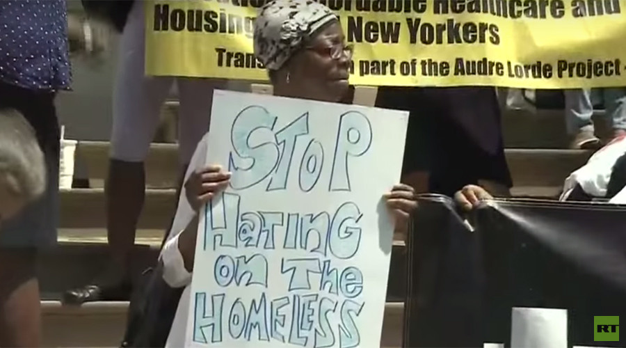 Protesters slam 'homeless shaming' campaign by NYPD union