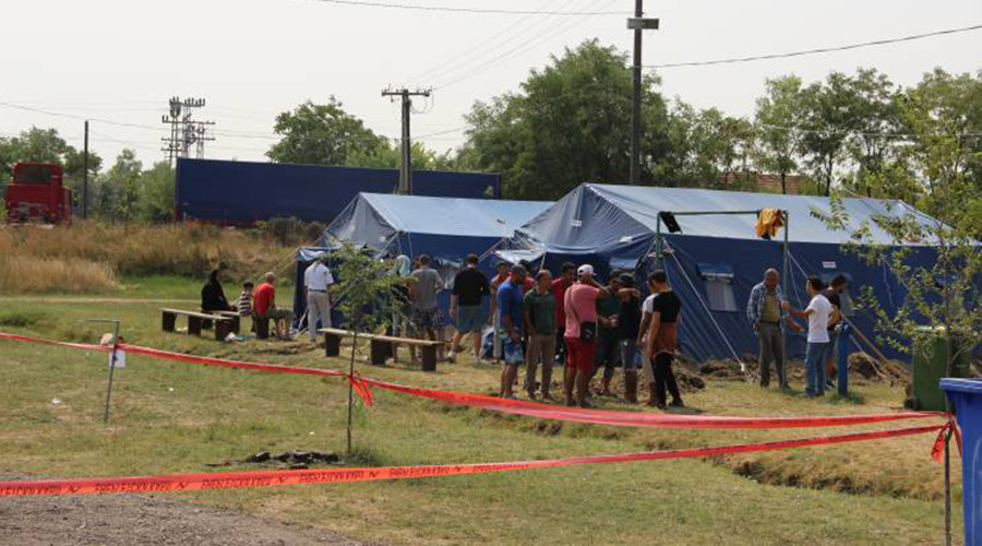 High level international delegation inspects conditions at a migrant camp in Kanjiza, Serbia, August 22, 2015 photo by Russian-Serbian Humanitarian Center