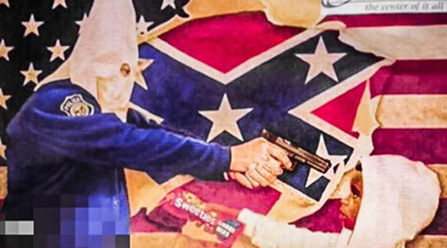 'Get the blacks out': Racist political fliers show KKK cop pointing gun at black kid