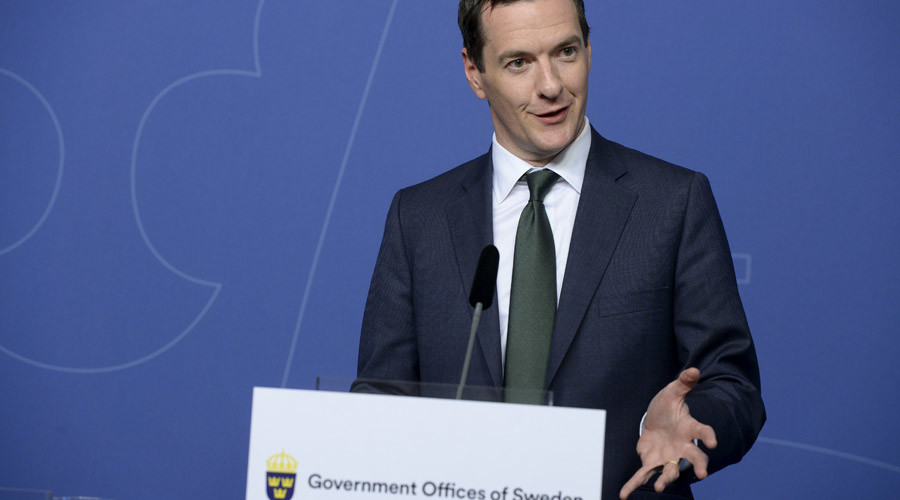 British finance minister George Osborne speaks during a news conference at the Swedish government headquarters Rosenbad in Stockholm, Sweden, August 24, 2015. © Bertil Ericson