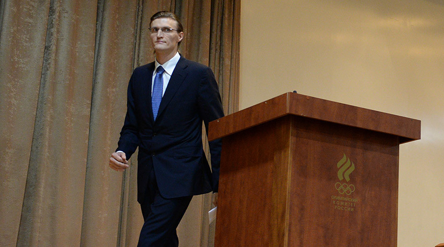 Basketball player Andrei Kirilenko, a prospective candidate for the post of President of the Russian Basketball Federation, during 'presidential' elections at the conference hall of the Russian National Olympic Committee. © Alexey Filippov