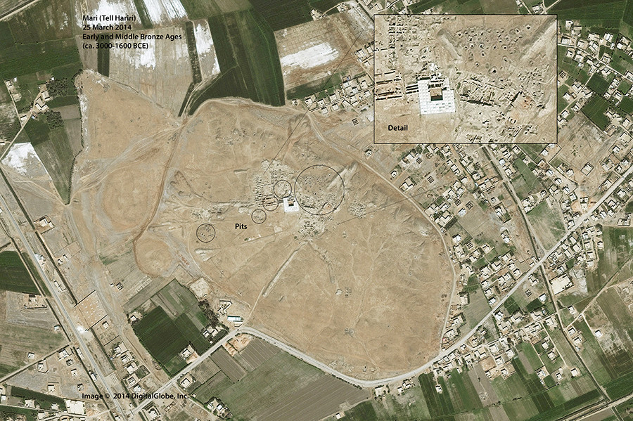Satellite imagery shows looting pits in Mari, a Bronze Age site near the Syrian border with Iraq © eca.state.gov