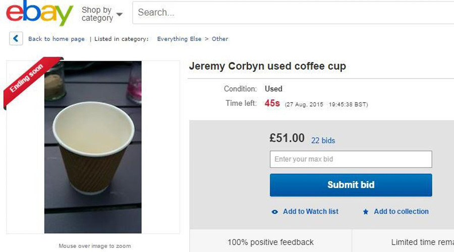 Corbyn's used coffee cup sells for £51 on eBay