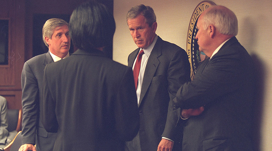U.S. President George Bush (2nd R) is pictured with Vice President Dick Cheney (R) and senior staff in the President's Emergency Operations Center in Washington in the hours following the September 11, 2001. © U.S. National Archives