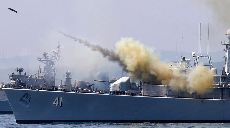 "ARCHIVE PHOTO: A rocket is launched from the Bulgarian navy frigate ""Drazki"" to simulate an attack on a mock submarine, during the BREEZE 2014 military drill in the Black Sea July 11, 2014. © Stoyan Nenov"