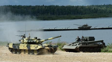 The tank biathlon team of the Serbian Army at the International Army Games 2015, Alabino base outside Moscow. © Maksim Blinov