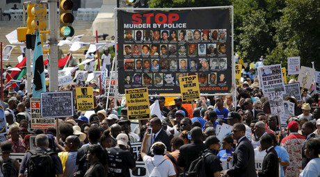 People take part in the Million People's March Against Police Brutality, Racial Injustice and Economic Inequality in Newark, New Jersey July 25, 2015 © Eduardo Munoz