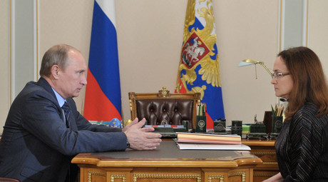 President Vladimir Putin and Central Bank chair Elvira Nabiullina. © Aleksey Nikolskyi
