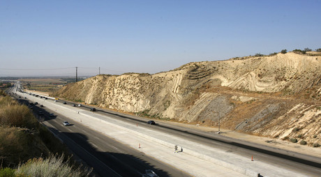 California's Antelope Valley freeway passes near folded layers of sediment above the San Andreas Fault near Palmdale, California © Lucas Jackson