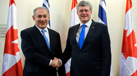 Israel's Prime Minister Benjamin Netanyahu (L) and Canada's Prime Minister Stephen Harper © Oded Balilty / Pool