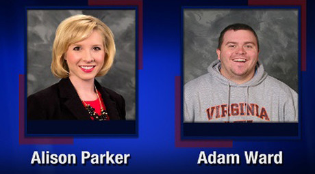 This TV video frame grab courtesy of WDBJ7-TV in Roanoke, Virginia shows two WDBJ7 employees killed in an attack at Bridgewater Plaza in Moneta, Virginia on August 26, 2015. © WDBJ7
