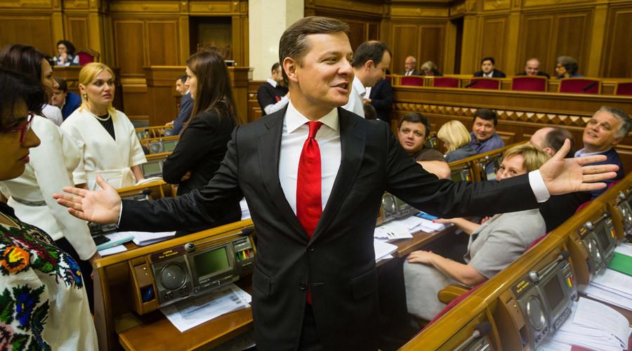 Oleg Lyashko, leader of the Radical Party, during a session of the Verkhovna Rada of Ukraine. © Mikhail Palinchak