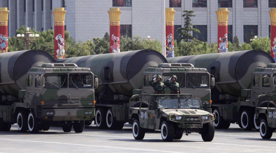 Nuclear-capable missiles are displayed during a massive parade to mark the 60th anniversary of the founding of the People's Republic of China in Beijing. © Nir Elias