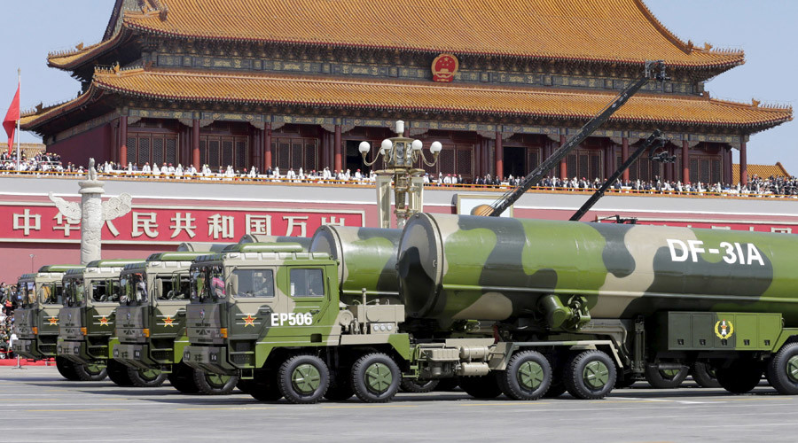 Military vehicles carrying DF-31A long-range missiles drive past the Tiananmen Gate during a military parade to mark the 70th anniversary of the end of World War Two, in Beijing, China, September 3, 2015. © Jason Lee
