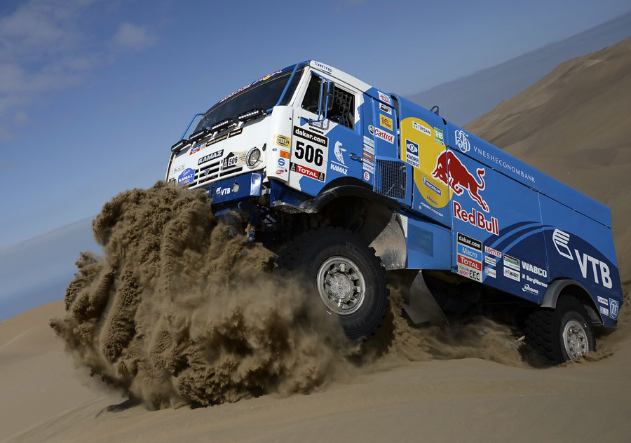Andrey Karginov of Russia drives his Kamaz truck during the 10th stage of the Dakar Rally 2014 from Iquique to Antofagasta January 15, 2014. © Franck Fife