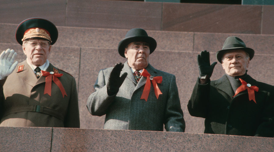 hairman of the U.S.S.R. Council of Ministers Nikolai Tikhonov; General Secretary of the C.P.S.U. Central Committee, Chairman of the Presidium of the U.S.S.R. Supreme Soviet Leonid Brezhnev; Defense Minister of the U.S.S.R., Marshal of the Soviet Union Dmitry Ustinov. © Yuryi Abramochkin