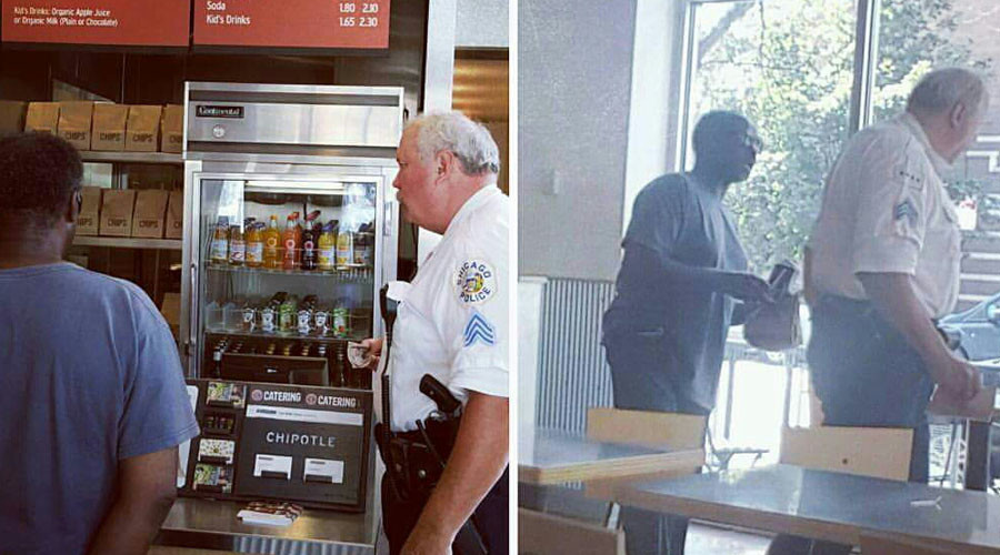 Pic of Chicago cop buying meal for homeless man wows social media