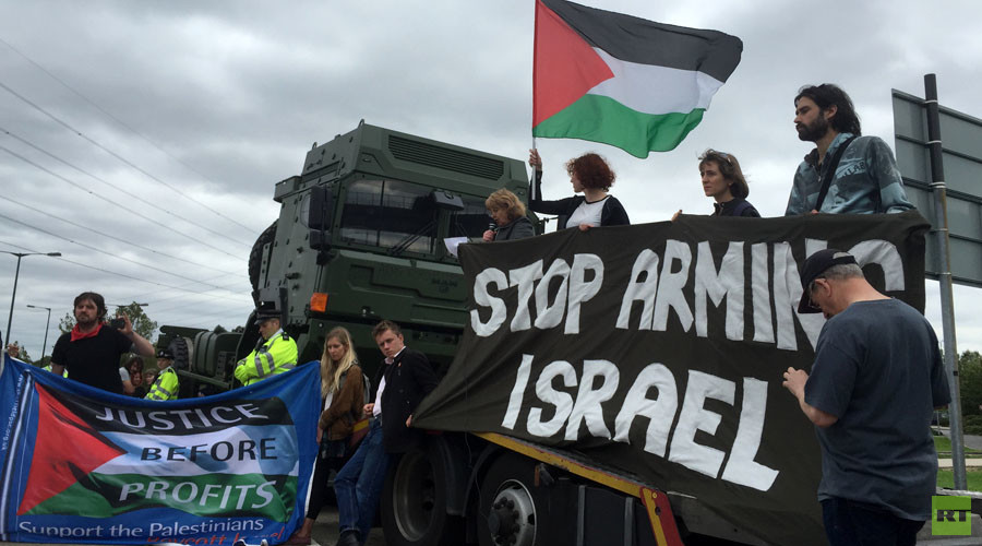 'Stop arming Israel!' Campaigners launch blockade ahead of London arms fair