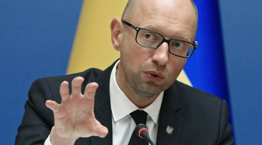 Ukrainian Prime Minister Arseny Yatsenyuk at an expanded meeting of the government. © Stringer
