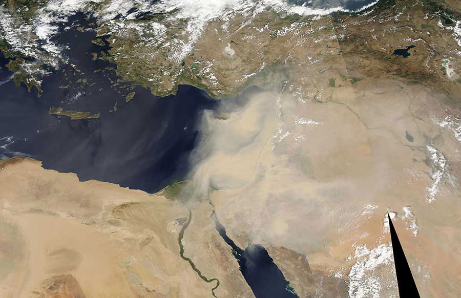 Image of a dust storm in the Middle East captured by the Moderare Resolution Imaging Spectroradiometer (MODIS) instrument on board the Aqua satellite on 8 September 2015. © NASA