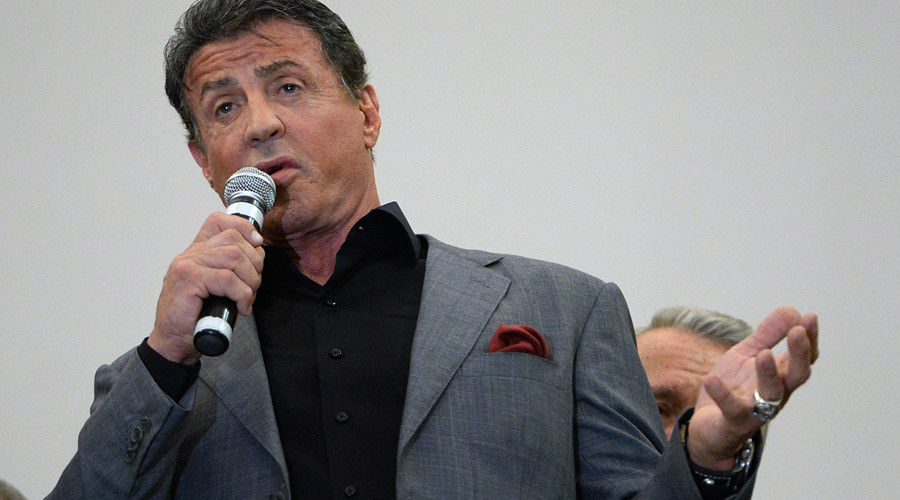 American actor, director and artist Sylvester Stallone speaks at the opening of his art exhibition at the Engineer Castle of the Russian Museum in St. Petersburg. © Alexei Danichev