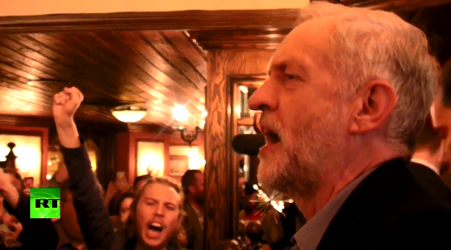 Singing socialist: New Labour leader Corbyn celebrates with 'The Red Flag' anthem in London pub