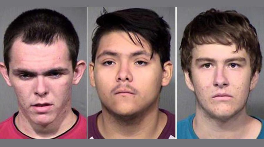 Christian Cook, Albert German and Aaron Nottingham, all 18, used slingshots to fire rocks at cars for four hours Saturday, police said. © MCSO