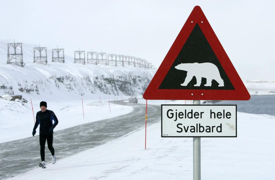 A runner passes a sign, warning of the dangers of polar bears, on the Norwegian Arctic archipelago of Svalbard. © Francois Lenoir