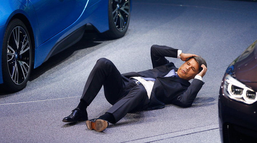 BMW CEO Harald Krueger collapses at a presentation during the media day at the Frankfurt Motor Show (IAA) in Frankfurt, Germany, September 15, 2015. © Kai Pfaffenbach