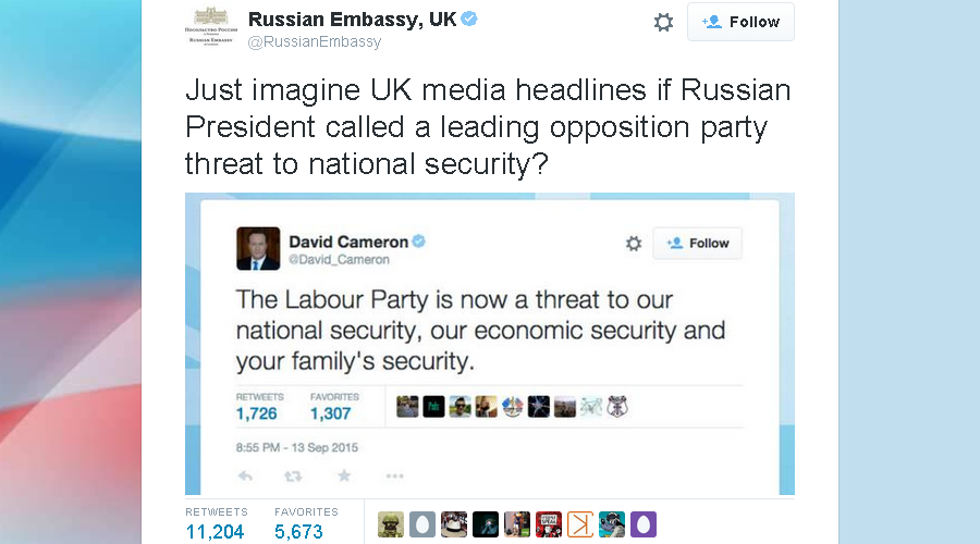 Russian embassy mocks Cameron's tweet on Labour being 'national threat' to Britain