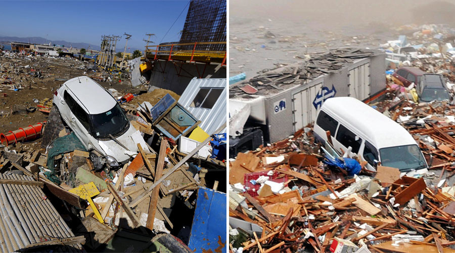 (L) A damaged car lies on debris after an earthquake hit areas of central Chile, in Coquimbo city, north of Santiago, Chile, September 17, 2015. (R) Houses and cars are swept out to sea in Kesennuma city March 11, 2011. © Reuters