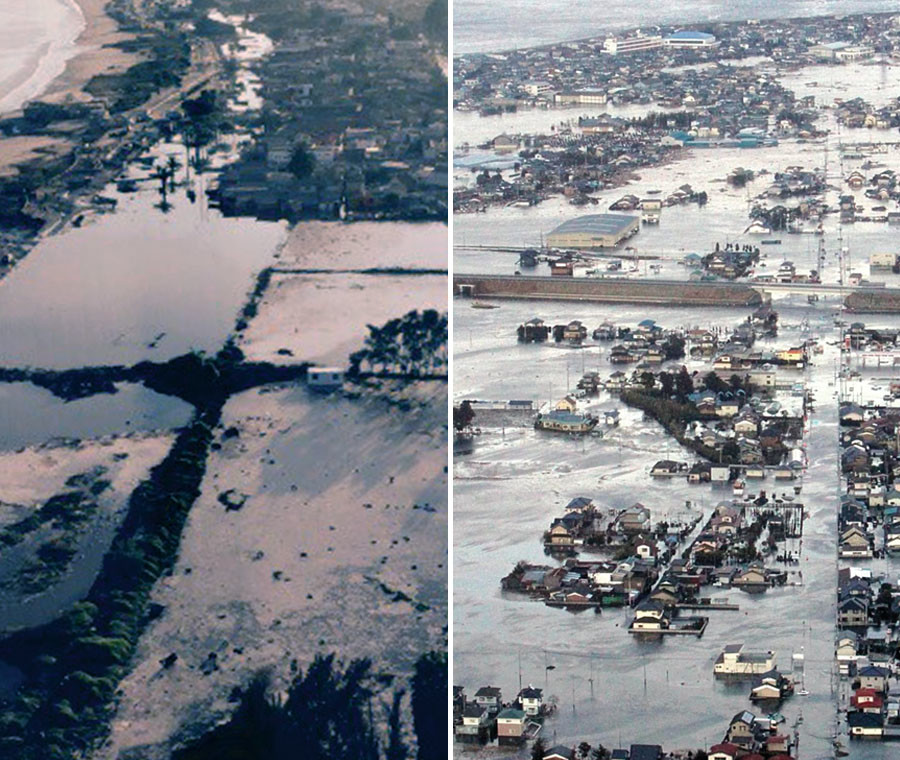 (L) An aerial view of the coastline of La Serena city in the north of Santiago is seen after an earthquake hit areas of central Chile September 17, 2015.  (R) Streets are flooded after a tsunami and earthquake in Yamamoto town, Miyagi Prefecture, March 11, 2011. © Reuters