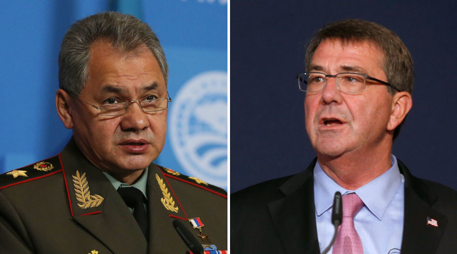 Russian Defense Minister Sergei Shoigu (L) and U.S. Secretary of Defence Ashton Carter. © RIA Novosti