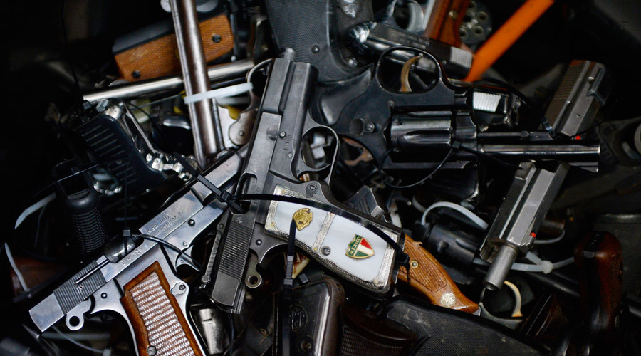 Surrendered handguns are seen during a gun buyback event © Kevork Djansezian