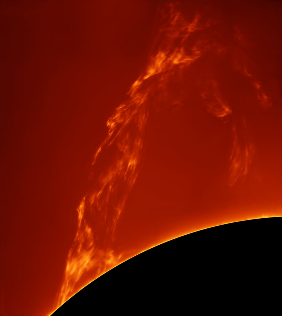 Huge Prominence Lift-off © Paolo Porcellana / INSIGHT ASTRONOMY PHOTOGRAPHER OF THE YEAR AT THE ROYAL OBSERVATORY GREENWICH