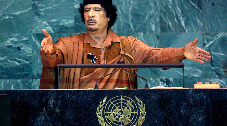 Muammar Gaddafi addresses the 64th United Nations General Assembly, at the U.N. headquarters in New York © Mike Segar