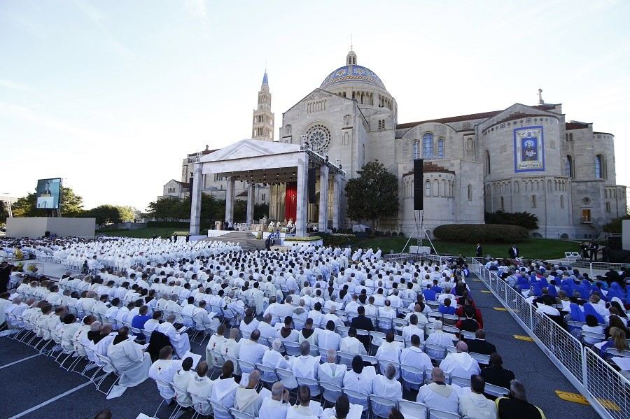 Pope Francis presides over a canonization Mass in front of the Basilica of the National Shrine of the Immaculate Conception
