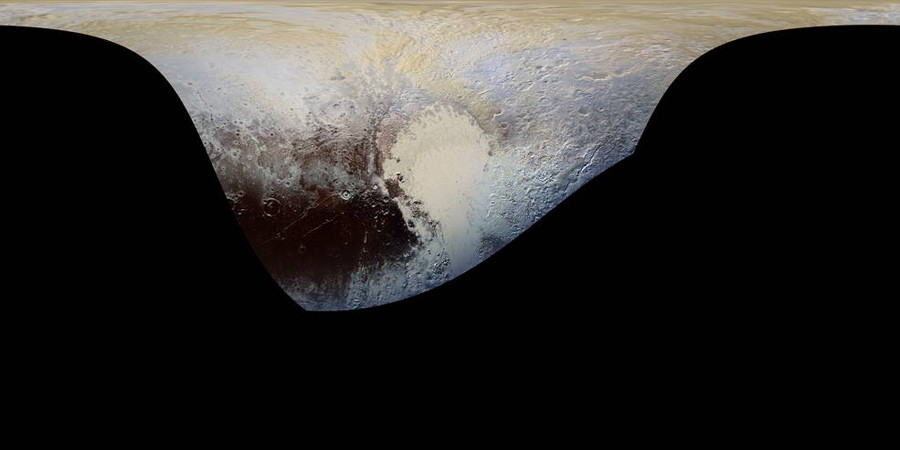 This cylindrical projection map of Pluto, in enhanced, extended color, is the most detailed color map of Pluto ever made. © JHUAPL / SWRI
