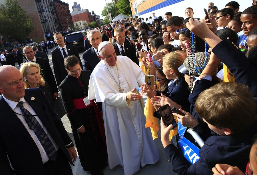 Pope Francis visits Our Lady Queen of Angels School in East Harlem