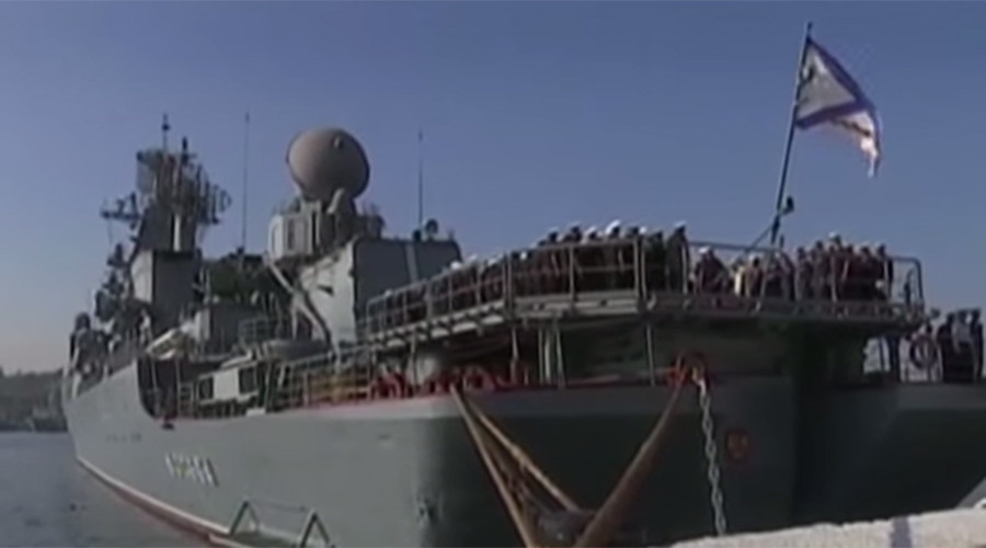 Mediterranean drills: Russian flagship leaves Crimea to participate in naval exercise (VIDEO)