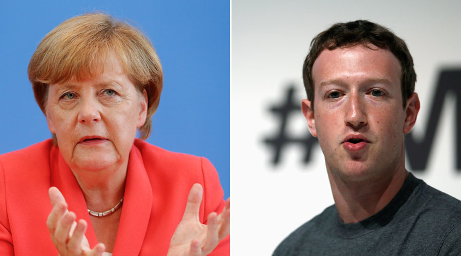 German Chancellor Angela Merkel and Facebook Chief Executive Mark Zuckerberg. © Reuters