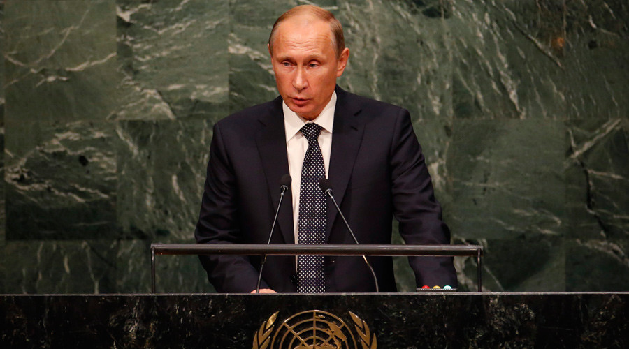 Russian President Vladimir Putin addresses attendees during the 70th session of the United Nations General Assembly at the U.N. Headquarters in New York, September 28, 2015. © Mike Segar