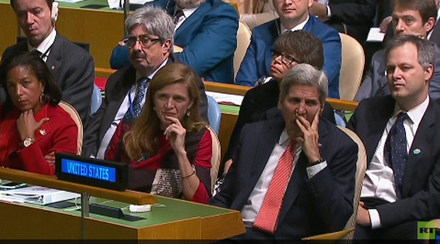 Not exciting enough: John Kerry caught yawning during Obama's address to UN