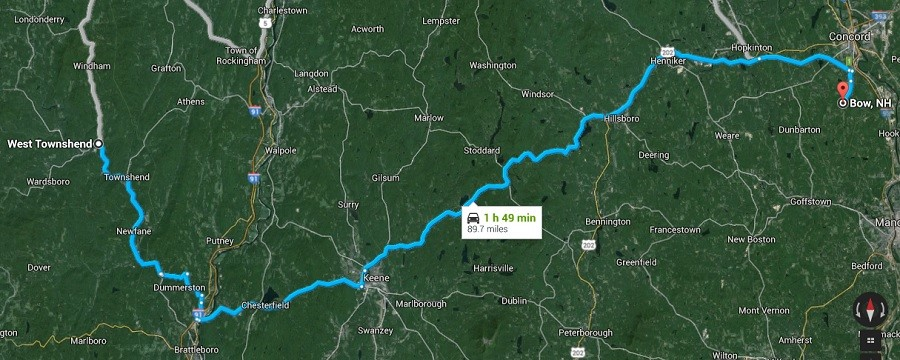 Traveling between West Townshend, Vermont and Bow, New Hampshire by car takes nearly two hours © Google Maps