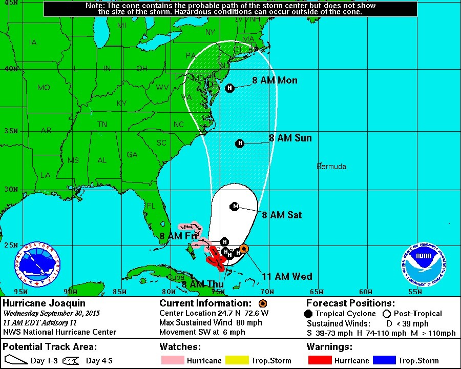 Coastal Watches/Warnings and 5-Day Forecast Cone for Storm Center © National Hurricane Center